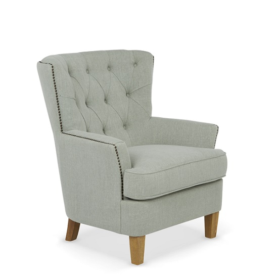 Arcadia Fabric Lounge Chair In Duck Egg With Light Wooden Legs