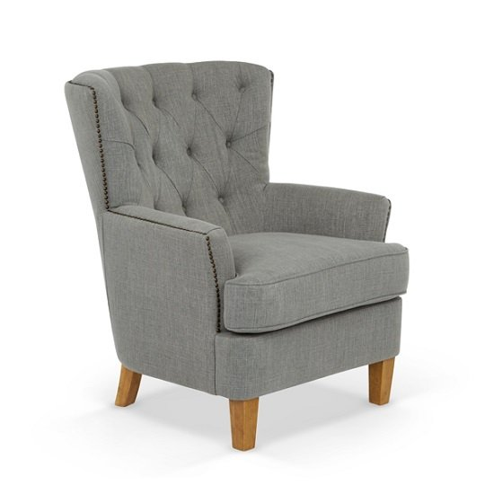 Arcadia Fabric Lounge Chair In Grey With Light Wooden Legs_1