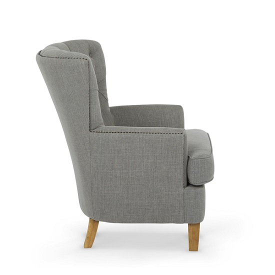 Arcadia Fabric Lounge Chair In Grey With Light Wooden Legs_2
