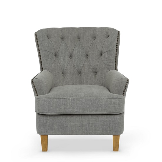 Arcadia Fabric Lounge Chair In Grey With Light Wooden Legs_3