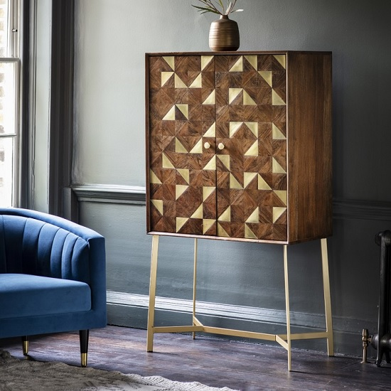 Arcana Bar Cabinet In Acacia Wood And Brass With 2 Doors