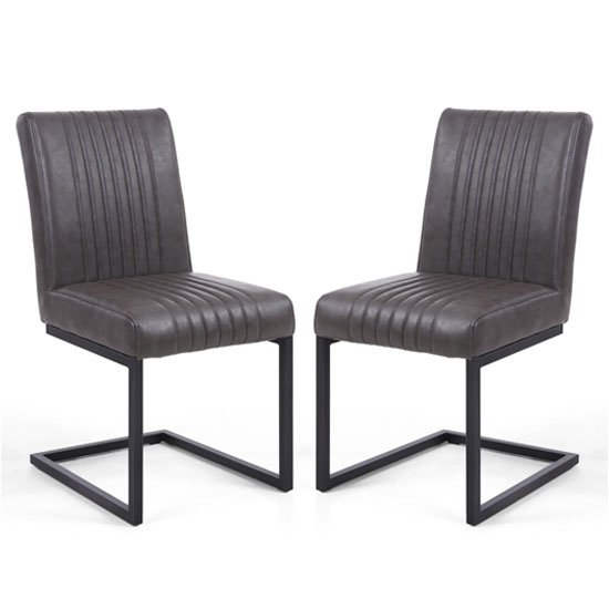 Archer Grey Leather Cantilever Dining Chair In A Pair