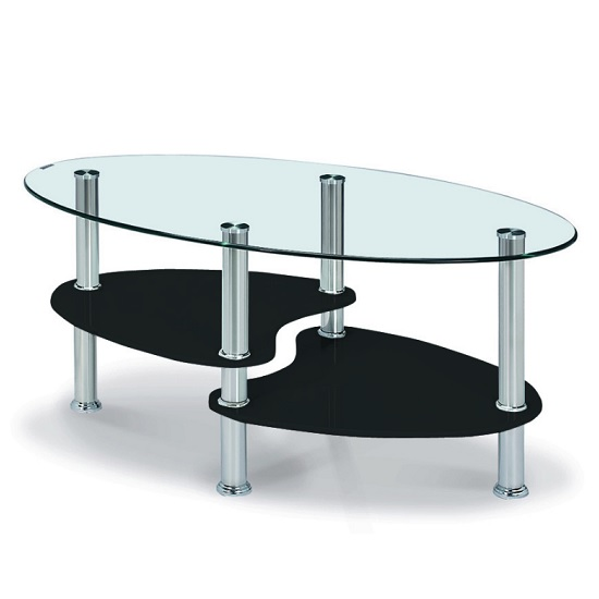Archet Glass Coffee Table In Clear With Black Gloss Shelves