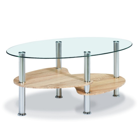 Archet Glass Coffee Table In Clear With Natural Shelves