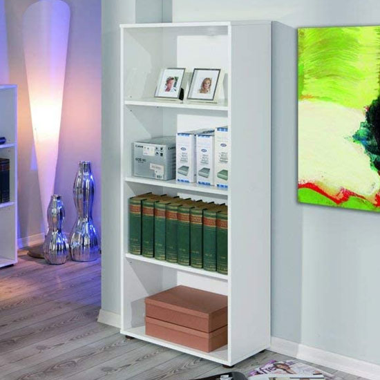 Arco Wooden Bookcase In White With 3 Shelves