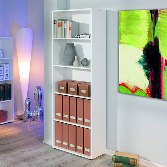 Arco Wooden Bookcase In White With 4 Shelves