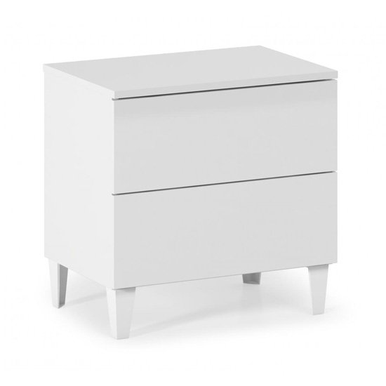 Arctic Wooden Bedside Cabinet In White With 2 Drawers