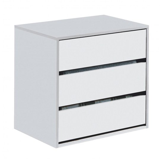 Arctic Wooden Chest Of Drawers In White With 3 Drawers