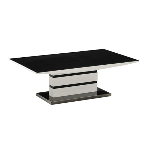 Arctica Coffee Table In Black Glass And White High Gloss