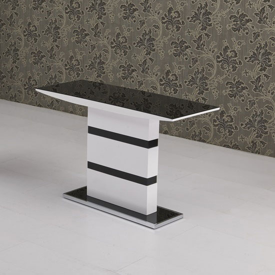 Arctica glass console table in black with white high gloss for White and glass console table