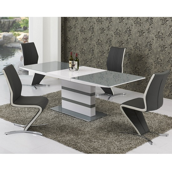 Arctica Extending Dining Table In Grey And White With 6 Chairs_1