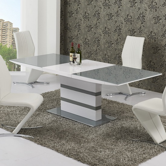 Arctica Small Extending Dining Table In Grey And White Gloss