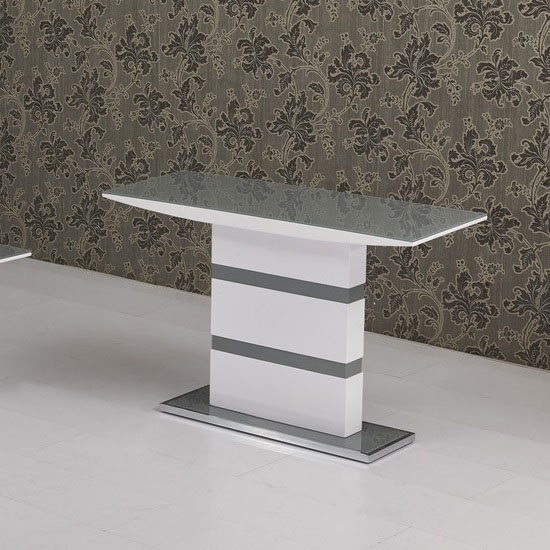 Arctica glass console table in grey with white high gloss for White and glass console table