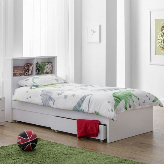 Arden Bookcase Bed In White High Gloss With Underbed Drawers_1