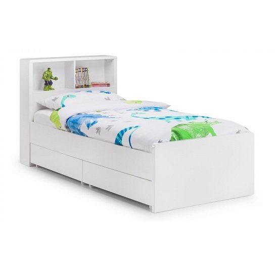 Arden Bookcase Bed In White High Gloss With Underbed Drawers_2