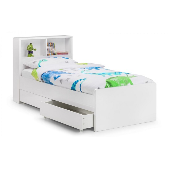 Arden Bookcase Bed In White High Gloss With Underbed Drawers_3