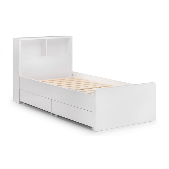 Arden Bookcase Bed In White High Gloss With Underbed Drawers_5