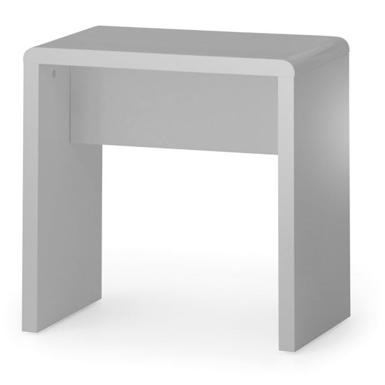 Arden Wooden Dressing Stool In Grey High Gloss