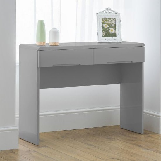 Arden Wooden Dressing Table In Grey High Gloss With 2 Drawers