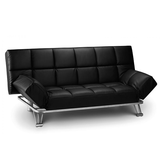 Arden Sofa Bed In Black Faux Leather With Steel Frame