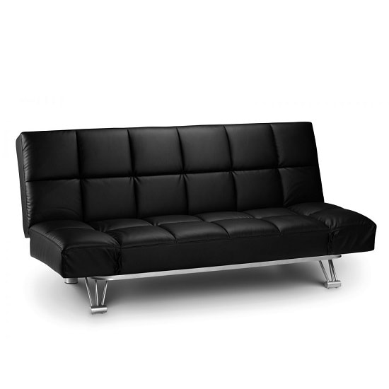 Arden Sofa Bed In Black Faux Leather With Steel Frame_2