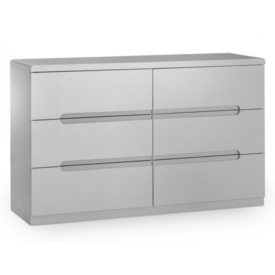 View Arden wide chest of drawers in grey high gloss with 6 drawers
