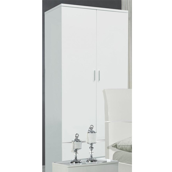 Arden Wooden Wardrobe White High Gloss With 2 Drawers