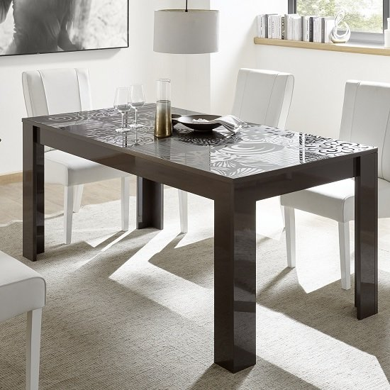 Ardent Contemporary Dining Table Rectangular In Grey High Gloss