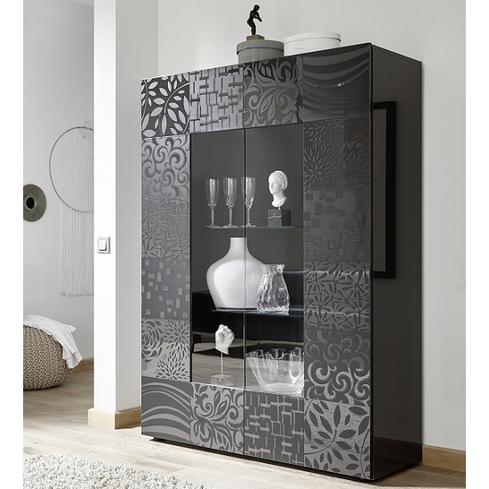 Ardent Modern Display Cabinet In Grey High Gloss With 2 Doors