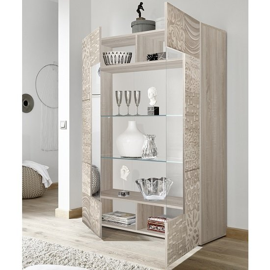 Ardent Modern Display Cabinet In Sonoma Oak With 2 Doors_2