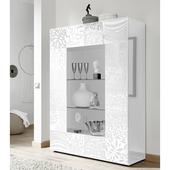 Ardent Modern Display Cabinet In White High Gloss With 2 Doors