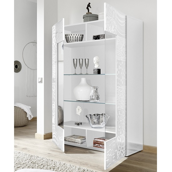 Ardent Modern Display Cabinet In White High Gloss With 2 Doors_2