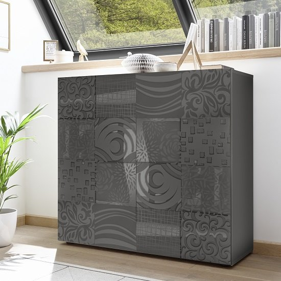 View Ardent modern highboard in grey high gloss with 2 doors