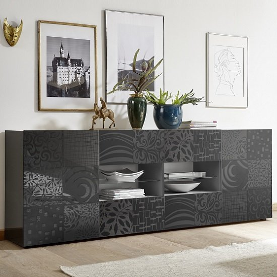 Ardent Large Sideboard In Grey High Gloss With 2 Doors And LED