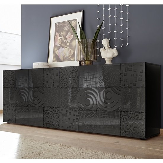 Ardent Large Sideboard In Grey High Gloss With 4 Doors