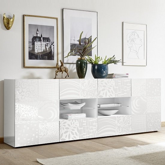 Ardent Large Sideboard In White High Gloss With 2 Doors And LED