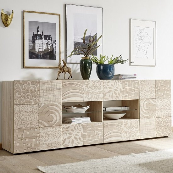 Ardent Wooden Large Sideboard In Sonoma Oak With 2 Doors And LED