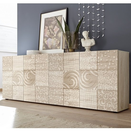 Ardent Wooden Large Sideboard In Sonoma Oak With 4 Doors