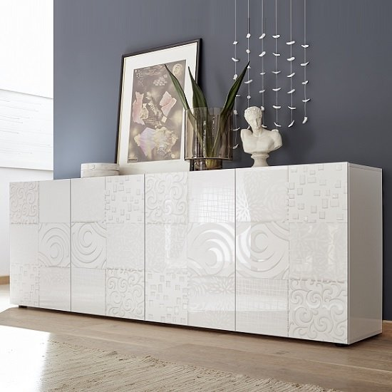 Ardent Large Sideboard In White High Gloss With 4 Doors