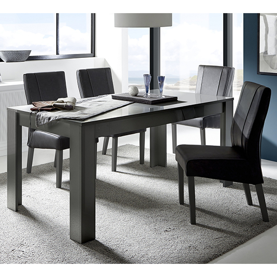 Ardent Rectangular High Gloss Dining Table In Grey_2