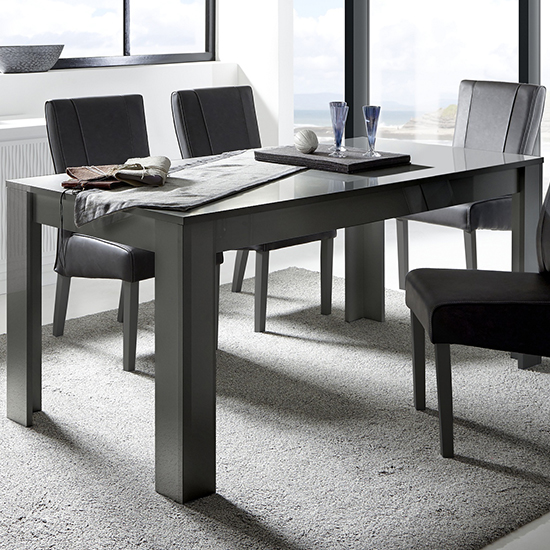 Ardent Rectangular High Gloss Dining Table In Grey_1