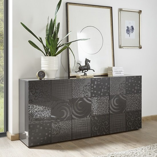 Ardent Modern Sideboard In Grey High Gloss With 3 Doors