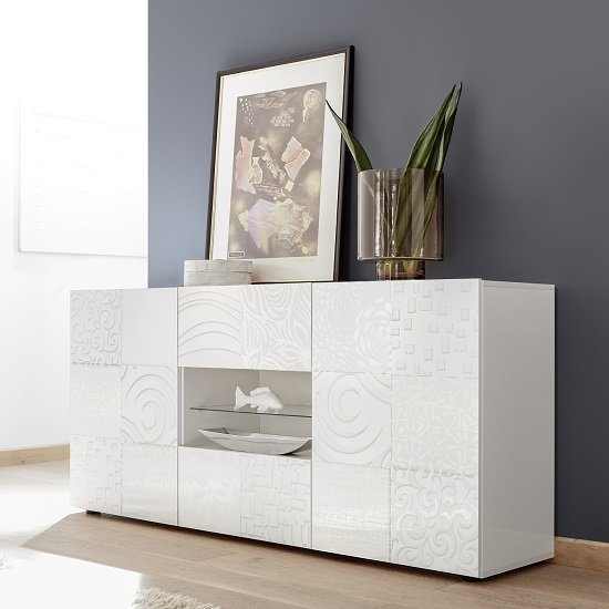 Ardent Sideboard In White High Gloss With 2 Doors And LED