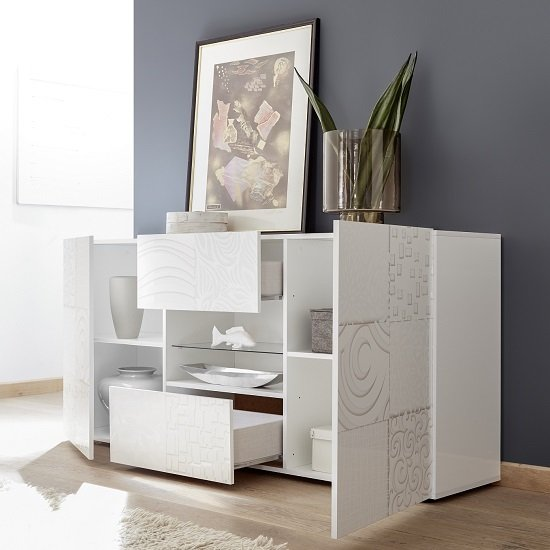 Ardent Sideboard In White High Gloss With 2 Doors And LED_2