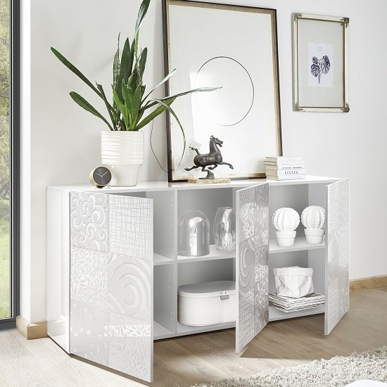 Ardent Modern Sideboard In White High Gloss With 3 Doors_2