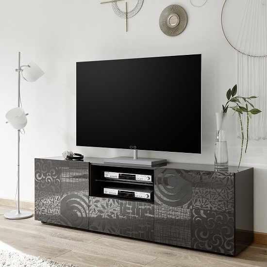 Ardent TV Stand Wide In Grey High Gloss With 2 Doors_1