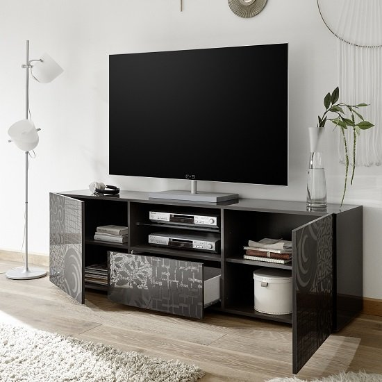Ardent TV Stand Wide In Grey High Gloss With 2 Doors_2