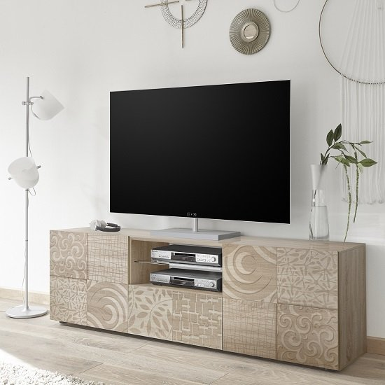 Ardent Wooden TV Stand Wide In Sonoma Oak With 2 Doors_1