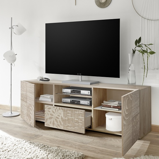 Ardent Wooden TV Stand Wide In Sonoma Oak With 2 Doors_2