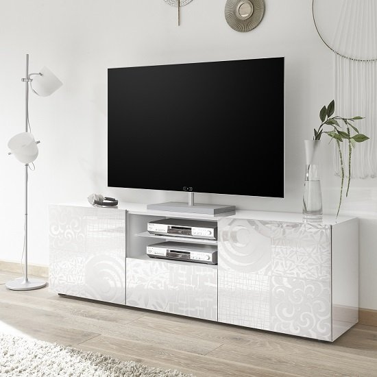 Ardent TV Stand Wide In White High Gloss With 2 Doors